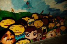 MURAL IN TUNNEL, COLLABORATION OSGEMEOS, LOOMIT AND NINA PANDOLFO